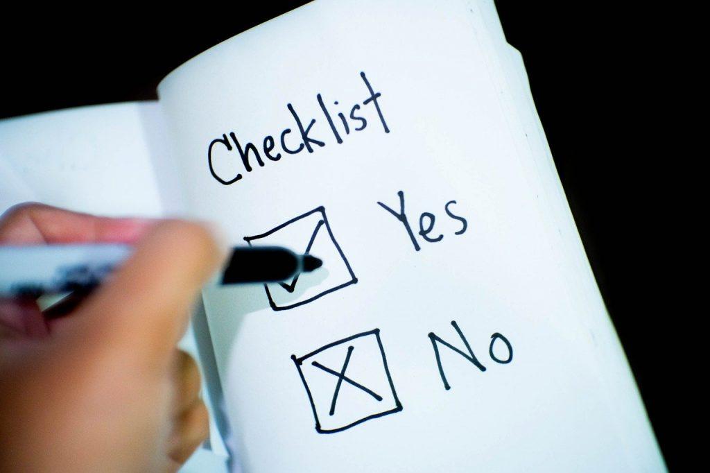 checklist à deux items : oui et non
